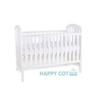 Happy Dream 4-in-1 Convertible Baby Cot (White) – w/ Mattress & Bedding Bundle Set