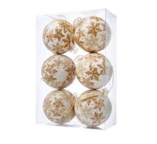 6-piece gold snowflakes balls/baubles Christmas tree decor