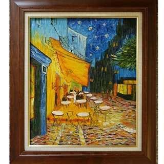 咖啡店外的街景油畫