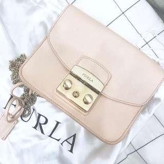 專櫃正品Furla斜跨包手提包小包 象牙色淡粉色
