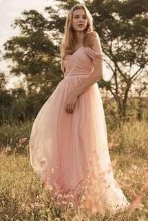 Amor Cold Shoulder Maxi Dress in Pink