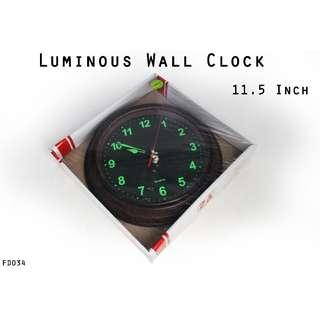 Luminous Wall Clock 11.5 Inch #FD034