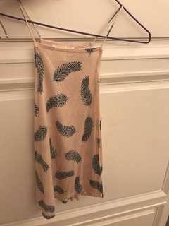 H and M Feather Print High Neck Tank Top