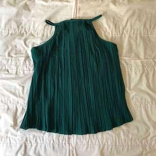 Forest green pleated halter top