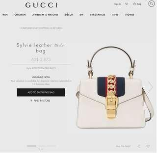 Gucci Sylvie Leather Mini Bag (All Colour Available)