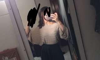 Oversized light beige off shoulder top