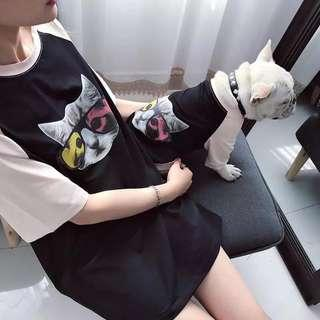 PREORDER - Pet Dog Small/Med Breed Cool Cat + Owner T Shirt 2 Pcs Set