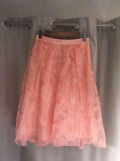 Midi peach pleated skirt
