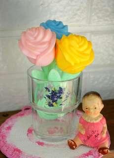 古董玫瑰造型寶寶搖鈴玩具三件組