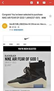 Fear of God Air Nike 1 US 12