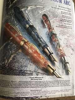 "Visconti crescent filler fountain pens""Millennium Arc"" 18K Gold nib"