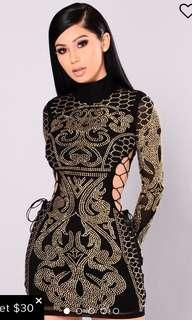 Fashion Nova Black Gold Dynasty Studded Dress