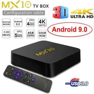 New Android 9.0 MX10 Smart TV BOX DDR4 4GB Ram 64GB Rom Rockchip RK3328 Quad Core 4K 3D Wifi USB 3.0 IPTV Smart Set Top Box