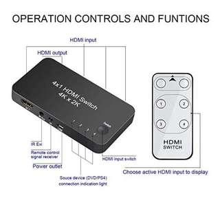 🚚 HDMI Switcher 4 Port 1 Out 4x1 HDMI Switch Box V2.0 with IR Wireless Remote Support 4Kx2K@60Hz 3D 1080P for HDTV PS3 PS4 Blu-ray DVD Home Theater Digital Projectors etc. Black
