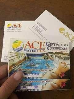 Ace Water Spa  Voucher Gift Certificate