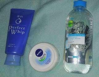 Garnier Micellar Water/SENKA Perfect Whip/NIVEA Soft cream