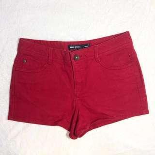 Basic House Red Denim Shorts