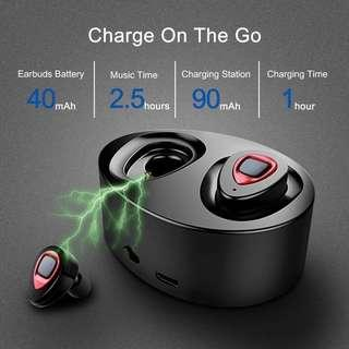 🚚 XIAOWU True Wireless Earbuds Bluetooth Earphone Dual V4.1 Bluetooth Headphones with Built-in Mic and Charging Case Noise Cancelling Stereo Mini Headset for iPhone Samsung iPad Android (K5-red)