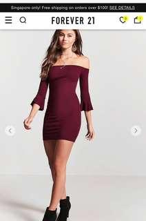 BNWT Forever21 Maroon Bell Sleeve Bodycon Dress