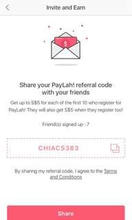 FREE $5 WHEN YOU SIGN UP FOR PAYLAH AND USE MY REFERRAL CODE