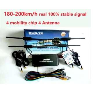 180-200km/h DVB-T2 Car 4 Antenna 4 Mobility Chip DVB T2 Car Digital Car TV Tuner HD 1080P TV Receiver BOX DVBT2