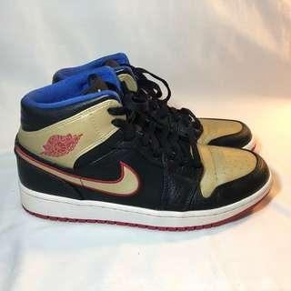 Air Jordan 1 Mid Black Red Metallic Gold