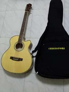 Good Condition Used Cristofori Acoustic Guitar With Padded Guitar Bag