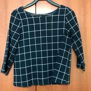 (Japan) Scott's club navy checked 3/4 sleeve blouse