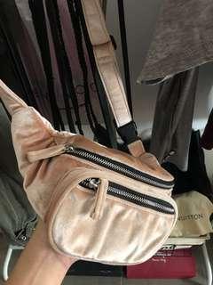 Pull and Bear pink velvet waistbag
