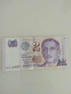 Singapore currency with Special number!