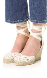 BNIB SOLUDOS Tall Wedge Espadrilles in Ivory Lace - US7 fit sz 38 -38.5 - Super deal!!