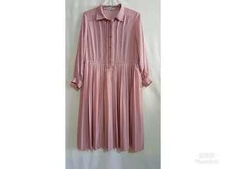 《壓箱寶》二手古著 粉紅長袖洋裝