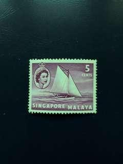 SGSTM. Stamp Of Singapore. 1955-09-04. -Queen Elizabeth II Series Definitives. 5 Cents, Lombok Sloop.