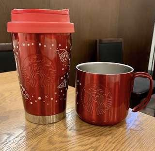🚚 INSTOCKS! 🇯🇵 Exclusive Japan Starbucks Stainless Steel Glossy Red Tumbler and Mug
