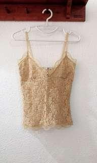 BN MANGO French Lace Gold Nude Camisole