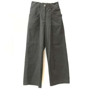 🚚 黑高腰寬版後鬆緊工作褲 made in Korea(僅限7-11超取付款)