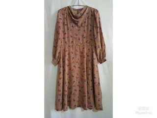 《壓箱寶》二手古著 桔色圖形長袖洋裝