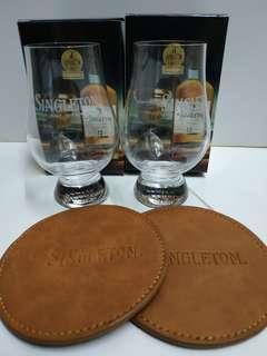 Singleton 玻璃酒杯2個+皮杯墊2個,100%new