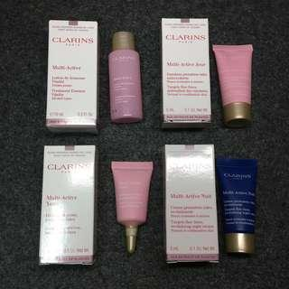 Clarins 多元活膚晚霜 Multi-Active Nuit Revitalizing Night Cream 多元修護亮眼霜 Multi-Active Yeux Instant eye reviver 多元活膚乳液 Multi-Active Jour Day Emulsion 多元活膚修護精華水 Multi Active Treatment Essence Samples sample Travel Size 試用裝 體驗裝 旅行裝