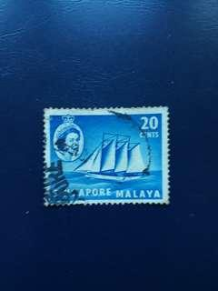 SGSTM. Stamps Of Singapore. 1955-09-04. -Queen Elizabeth II Series Definitives. 20 Cents, Cocos Keeling Schooner.