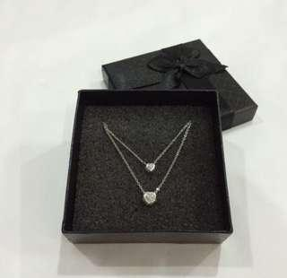 🚚 2 hearts in 1 Silver Necklace with Crystal
