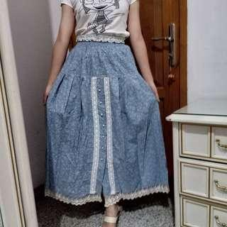 Denim lace blue rok maxi midi long skirt panjang vintage biru muda