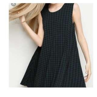 Authentic Brandy Melville Alena Green Black Checkered Plaid Swing A Line dress