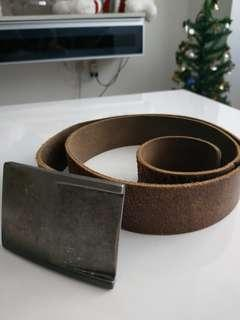 Big Buckle Leather Belt