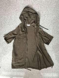 Army Green Short Sleeve Outerwear