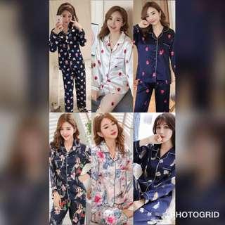 Korean Style Satin Suit Pyjamas Long Pant More Design