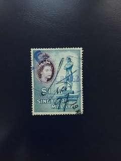 SGSTM. Stamp Of Singapore. 1955-09-04.  -Queen Elizabeth II Series Definitives. $1, Statue of Sir Stamford Raffles.