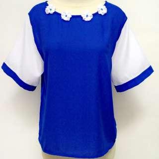 Top blouse whiteblue