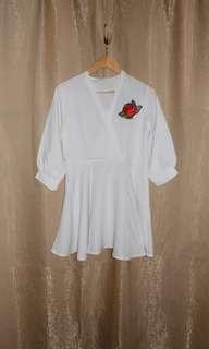 SALE White Skater Dress with a Rose patch