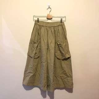 日牌🇯🇵日系卡其色雙口袋寬褲裙